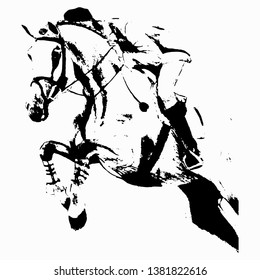Equestrian show jumping. Picture on white background