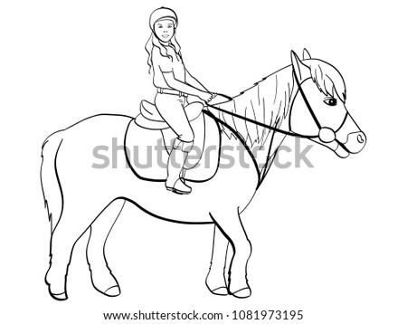 Equestrian Sport Children Girl Riding Pony Stock Illustration