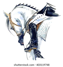 Equestrian sport. horse with rider watercolor illustration.
