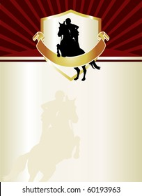 Equestrian themed letterhead or event flyer. Features female hunter jumper with chocolate, gold and red accents.
