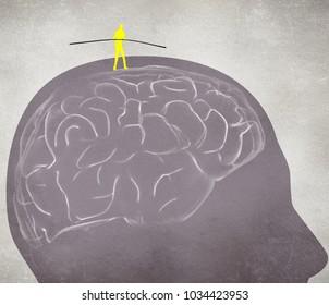equilibrist walking on the brain digital illustration