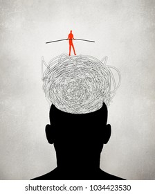 equilibrist walking on muddled thoughts digital illustration