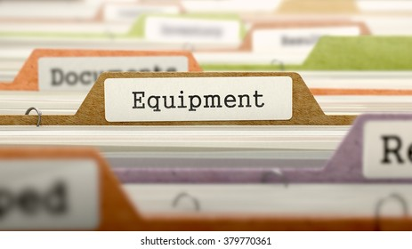 Equipment Concept on File Label in Multicolor Card Index. Closeup View. Selective Focus. 3D Render.