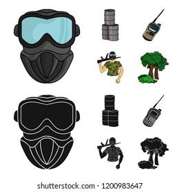 Equipment, mask, barrel, barricade .Paintball set collection icons in cartoon,black style bitmap symbol stock illustration web.