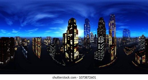. Equirectangular projection. Spherical panorama. Panorama of the city. Environment map.  3D rendering