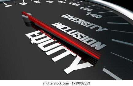 Equity Diversity Inclusion Speedometer Words 3d Illustration