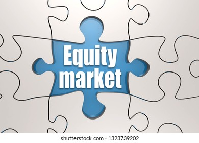 Equity market word on jigsaw puzzle, 3D rendering