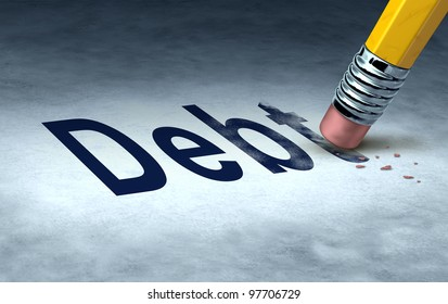 Erasing debt concept with a pencil and eraser eliminating the icon for owing money in credit cards or car payments and mortgages and managing a solution out of bankruptcy and into financial success.