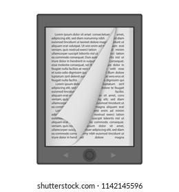Ereader mockup. Realistic illustration of ereader mockup for web design isolated on white background