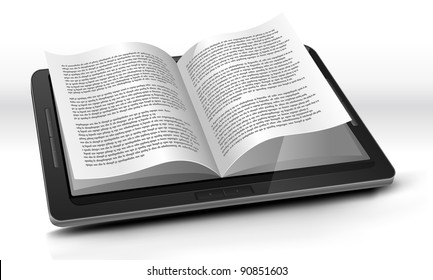 E-reader In Tablet PC/ Illustration of a tablet pc e-book with realistic page flipping effect. Imaginary model of e-book not made from a real existing product.