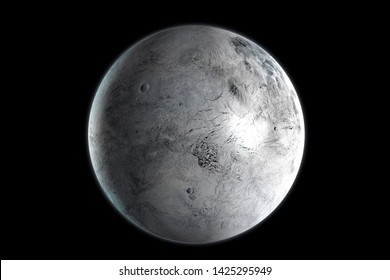 Eris dwarf planet in the outer space. 3D Rendering.