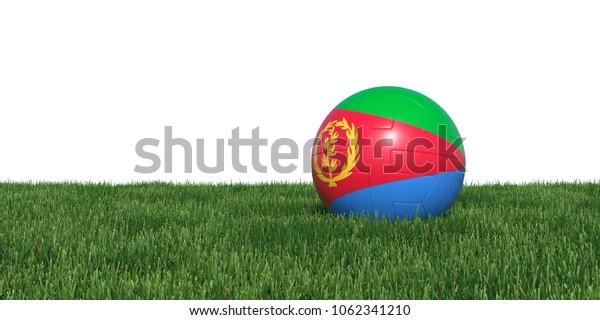 Eritrea Eritrean flag soccer ball lying in grass, isolated on white background. 3D Rendering, Illustration.
