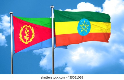 Eritrea flag with Ethiopia flag, 3D rendering