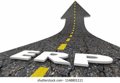ERP Enterprise Resource Planning Business Software Road Word 3d Illustration