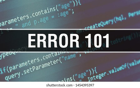 Error 101 concept illustration using code for developing programs and app. Error 101 website code with colorful tags in browser view on dark background. Error 101 on binary computer code, background
