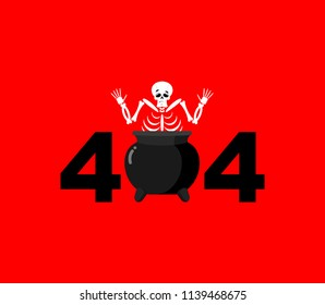 Error 404. sinner in boiler is surprise. Page not found template for web site. skeleton in pot does not know and is surprised. Page lost and found message.