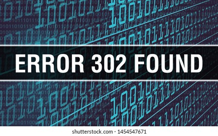Error 302Found concept illustration using code for developing programs and app. Error 302Found website code with colourful tags in browser view on dark background. Error 302Found on binary
