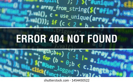 Error 404Not Found concept illustration using code for developing programs and app. Error 404Not Found website code with colorful tags in browser view on dark background. Error 404Not Found on