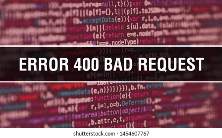 Error 400Bad Request with Abstract Technology Binary code Background.Digital binary data and Secure Data Concept. Software