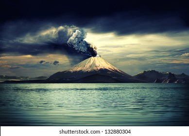 Erupting volcano near water - illustration