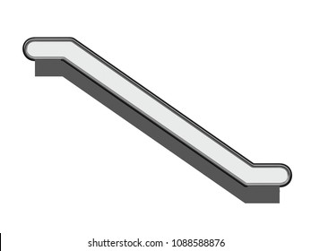escalator or electric stairs front or side view isolated on a white background 3d rendering
