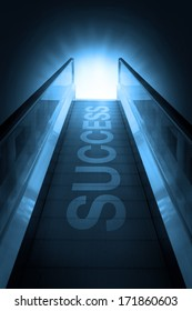 Escalator of walkway to success on blue sky background