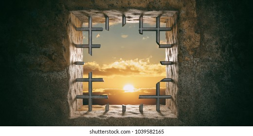 Escape, freedom concept. Prison, jail window with cut bars, sunset, sunrise view. 3d illustration