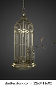 Escape from the golden cage towards freedom, 3d illustration
