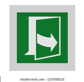 Escape sign (open door by pulling on the left side) to ASR (A1.3) / ISO. Front view, 3d render