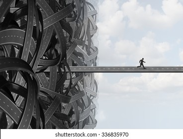 Escape way as a businessman finding the solution path to leave the confusion of a group of tangled roads  finding a path to freedom.