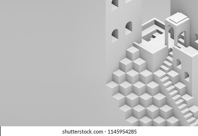 Escher inspired illustration. Stairs and cubes. Isometric gray.