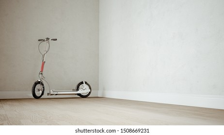 E-Scooter in the apartment on electric mobility in the city -- 3D rendering