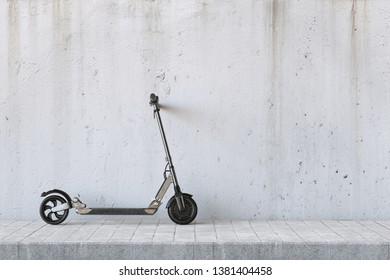 E-scooter parked on sidewalk on concrete wall for urban mobility (3d rendering)