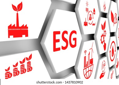 ESG concept cell background 3d illustration