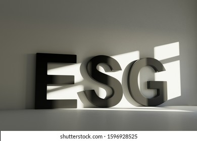 ESG concept text room 3D render illustration