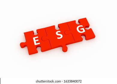 ESG puzzle concept white background 3D render illustration