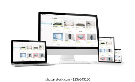 e-shop website isolated gadget devices 3d rendering