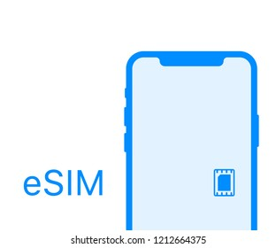 eSIM card chip sign. Embedded SIM concept. New mobile communication technology.  stock illustration.