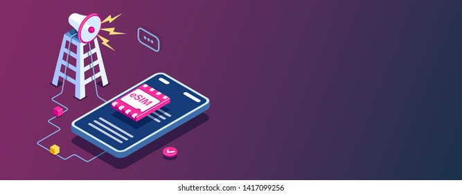 eSIM card chip sign. Gsm tower concept. Futuristic projection sim card. Modern telecommunication technology. Can use for web banner, infographics, hero images. Flat isometric illustration.
