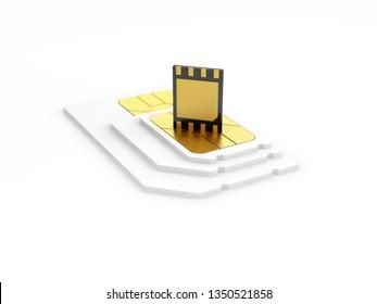 eSIM card standing on old generation SIM card. 3d illustration.