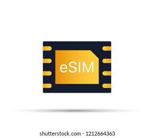 eSIM Embedded SIM card icon symbol concept. new chip mobile cellular communication technology.  stock illustration.