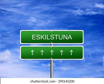 Eskilstuna city Sweden skyline tourism welcome icon sign.