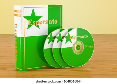 Esperanto language textbook and CD discs on the wooden table. 3D rendering