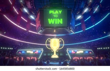 E-sport arena, E-sport competition tournament, 3d rendering illustration.