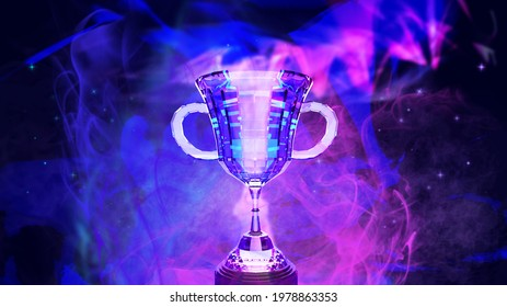 E-sport trophy for online gaming winner with smoke on background abstract futuristic dark blue and violet color theme , 3d rendering picture.