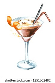 Espresso martini cocktail with orange zest. Watercolor hand drawn illustration, isolated on white background
