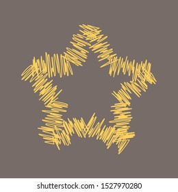 Esquisse gold star. Jpeg pencil sketch graphic illustration
