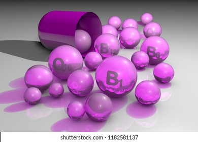 Essential vitamins B1, B6, B12 and coenzyme Q10 pills. Vitamin and mineral complex. Healthy life concept. Medical background. 3d illustration