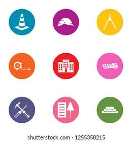 Establishment icons set. Flat set of 9 establishment icons for web isolated on white background