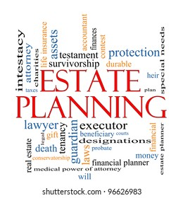 Estate Planning Word Cloud Concept with great terms such as , tenancy, durable, will, financial, lawyer, executor, probate and more.